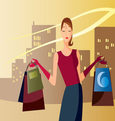 shopping-in-the-afternoon vector image