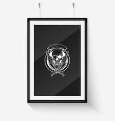 sketch pirate skull with anchor vector image