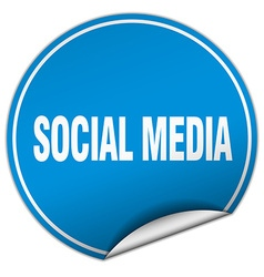 Social media round blue sticker isolated on white vector