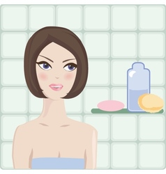 Spa Woman Beautiful Girl After Bath Touching Her vector image