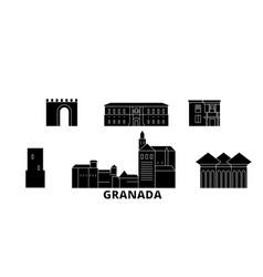 Spain granada flat travel skyline set spain vector