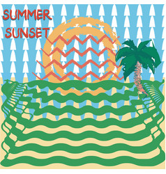 summer sale banner with tropical colored vector image