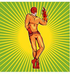 superhero fire man vector image