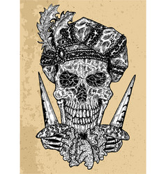 textured scary skull portrait vector image