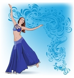 The belly dancer in blue vector