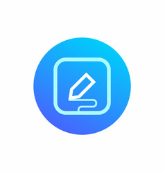 The icon symbolizes data entry with the stylus vector