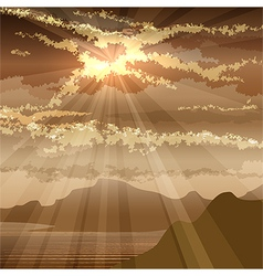 the sunset in gulf vector image