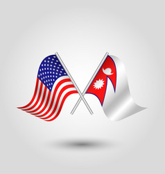 two crossed american and nepalese flags vector image
