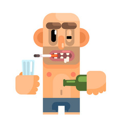 unshaved alcoholic with rotten teeth revolting vector image