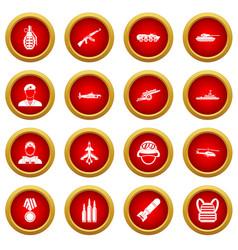 War icon red circle set vector