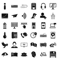 wireless communication icons set simple style vector image
