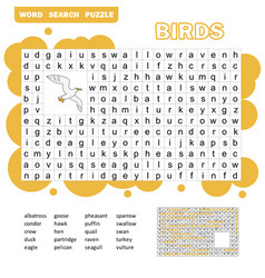 Words search puzzle game birds animals for kids vector