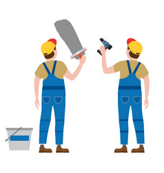Workers put plaster with a screwdriver vector