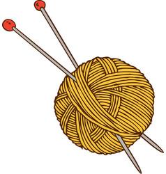 Yellow yarn ball and needles vector