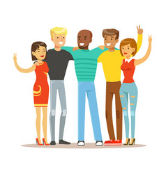 young friends from all around the world standing vector image