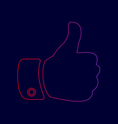 hand sign line icon with vector image vector image