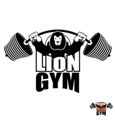 Lion Gym Logo Angry leo strong athlete Barbell and vector image vector image