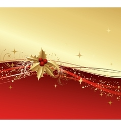 Merry Christmas card with gold holly vector image vector image