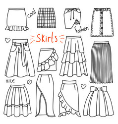 set of hand drawn women clothes skirts vector image