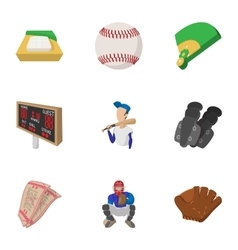 Baseball sport icons set cartoon style vector image vector image
