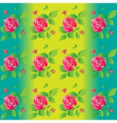 Bright color seamless pattern with beautiful roses vector image