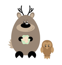 deer and owl happy vector image vector image