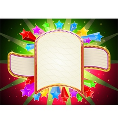 Glossy colorful stars shape with billboard vector image vector image