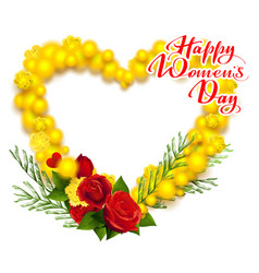 happy womens day march 8 text yellow mimosa and vector image vector image