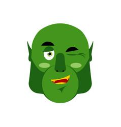 ogre winking emoji goblin happy emotion isolated vector image vector image