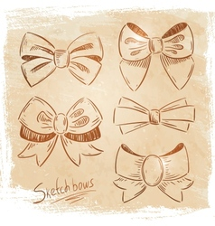 Set of bows sketch vector image vector image