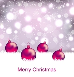 Shimmering Card with Balls For Merry Christmas vector image vector image