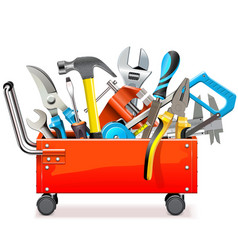 toolbox trolley with tools vector image vector image