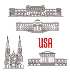 Architecture landmarks of USA vector image vector image