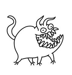 Cartoon monster smiles and runs vector