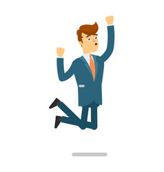 happy businessman in suit jumping character vector image vector image