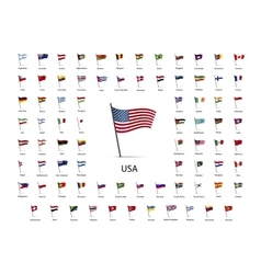 Set of flags on a pole with shadow vector image