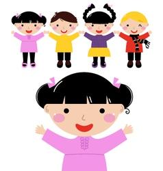 Cute school kids in row holding hands vector image vector image