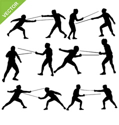 Fencing silhouettes vector image vector image
