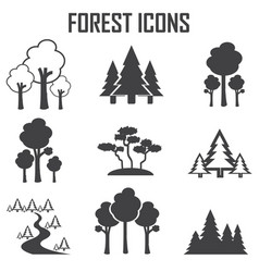 forest icon set vector image vector image
