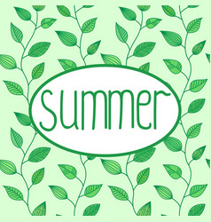 summer sign in oval frame with leaves vector image vector image