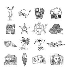 Summer vacation doodle sketch isons set vector image