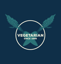 vegetarian logo design template vector image