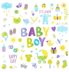 Baby Boy Design Elements - for design and scrap vector image