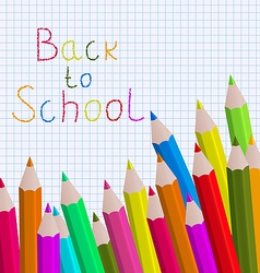 Back to school message with pencils on paper sheet vector image vector image