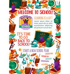 Back to school supplies sale offer banner design vector