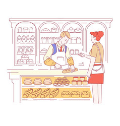 bakery shop bread loaves or baguette vendor and vector image
