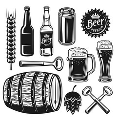 beer and brewery set black objects vector image