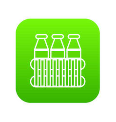 bottles milk icon green vector image