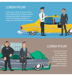 Businessmen get to work car or taxi cartoon vector