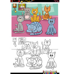 cartoon funny cats group coloring book page vector image